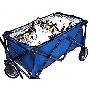 Folding Mobile Cooler Wagon, Easily Stows For Storage, Blue