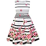 Sunny Fashion LP34 Girls Dress Black Striped Pink Flower Age 9-10 Years