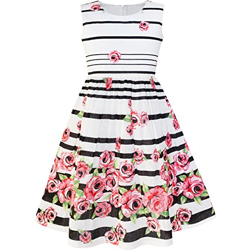 Sunny Fashion LP35 Girls Dress Black Striped Pink Flower Size 11-12 for $<!--$10.99-->