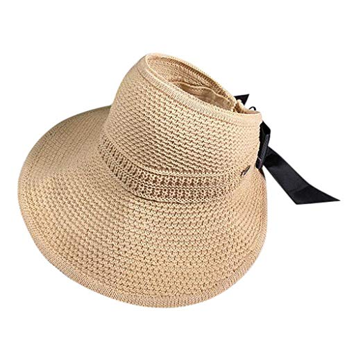- Women Girls Sunscreen Cap Weaving Crushed Quote Floppy Edge Foldable Wide Brim Floppy Sun Beach Hat