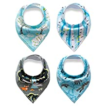 4 Pack Infant Baby Drool Bibs with Snap Saliva Towel Bandana Scarf for Drooling and Teething (Blue)