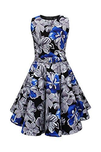 BlackButterfly Kids 'Audrey' Vintage Liberty 50's Dress (Black & Blue, 5-6 yrs) by BlackButterfly