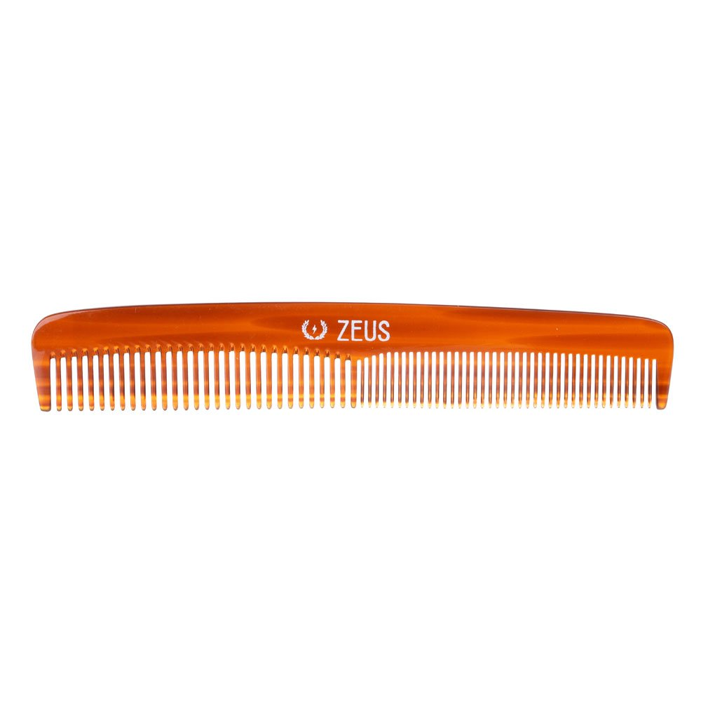 """Zeus Handmade Saw-Cut Beard Comb - 6"""" x 1"""" - Premium, Static-Free Comb for Beards and Mustaches with Medium and Fine Tooth Sides"""