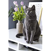 Elegant Gray Cat and a Vase of Purple Tulips Still Life Journal: 150 Page Lined Notebook/Diary
