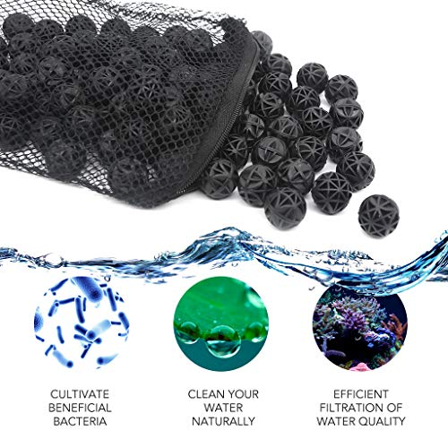 - Lefunpets Aquarium Filter Bio Ball, Bio Balls Filter Media, Biological Filtration Rings with Media Bags for Aquarium Fish Pond Waterfall Fountain (Black)
