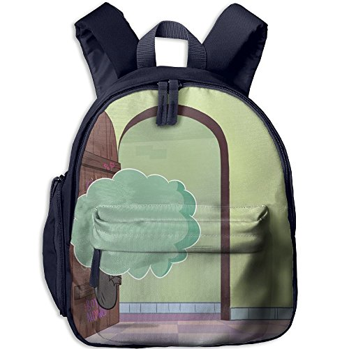 Cloudy Bumps Into Printed Kids School Backpack Cool Children Bookbag Navy by PENTA ANGEL