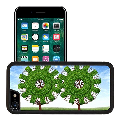 Liili Premium Apple iPhone 7 iPhone 8 Aluminum Snap Case Cloud computing growth and the future of virtual storage and internet based remote desktop illustrated by trees and clouds in the sh by Liili