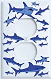 Shark Attack Outlet Switch Plates Covers/Sharks Childrens Nursery Wall Decor (Outlet/GFCI Cover)