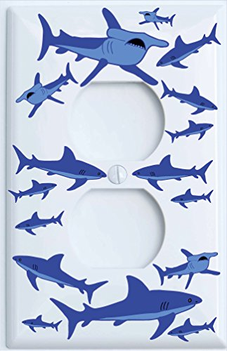 Shark Attack Outlet Switch Plates Covers/Sharks Childrens Nursery Wall Decor (Outlet/GFCI Cover) by Presto Wall Decals