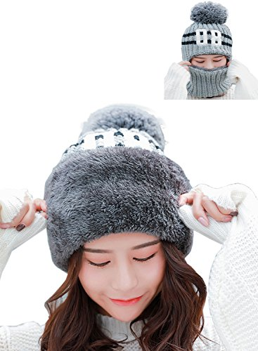 Womens Warm Scarf Earflap Hood Scarves Beanie Hat Fleece Lined Knit Winter Skull Cap Cuff Beanie (Grey) Hood Liner Acrylic