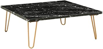 Amazon Com Acme Telestis 40 Square Marble Top Coffee Table In