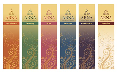 (Arna Premium Incense Sticks | Aromatherapy Variety Gift Pack | 126 Sticks Total, 21 Sticks of Sandalwood, Rose, Celebration, Serenity, Nirvana, Jasmine)