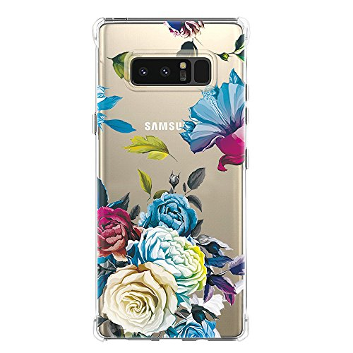 Galaxy Note 8 Case,Samsung Galaxy Note 8 Case with Flower,LUOLNH Slim Shockproof Clear Floral Pattern Soft Flexible TPU Back Cover for Samsung Galaxy Note 8 (Blue Rose)