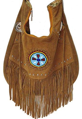 Genuine Cow Split Suede Leather Fringe Shoulder Bag With Handmade Beading 7845 USD (Tan) (Leather Genuine Tan Split)