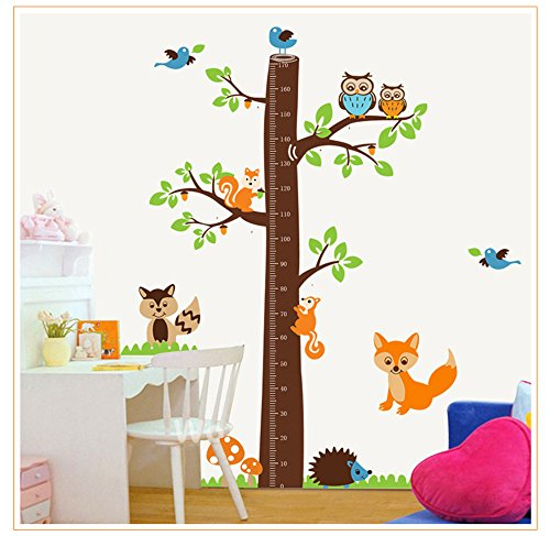 YALEEE Animals Tree Growth Chart Peel Wall Sticker Mural Kids Bedroom Decoration