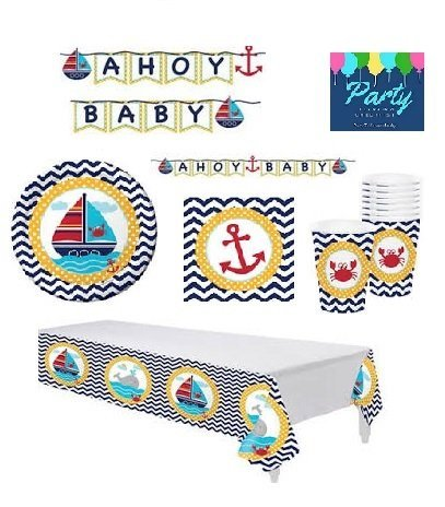 Nautical Baby Shower Supplies Decorations Set Including: Plates, Napkins, Cups, Table Cover and Banner