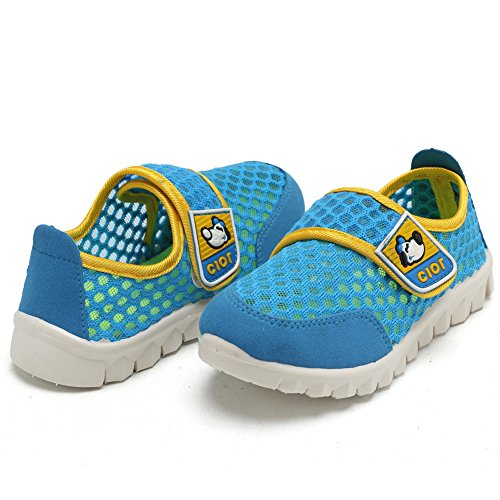 CIOR Kid's Mesh Lightweight Sneakers Baby Breathable Slip-on For Boy and Girl's Running Beach Shoes(Toddler/Little Kid),Blue01,29 4
