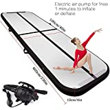 FBSPORT 9.84ft/13.12ft/16.4ft/19.68ft air Track Tumbling mat Inflatable Gymnastics airtrack with Electric Air Pump for Practice Gymnastics, Tumbling,Parkour, Home Floor and Martial Arts