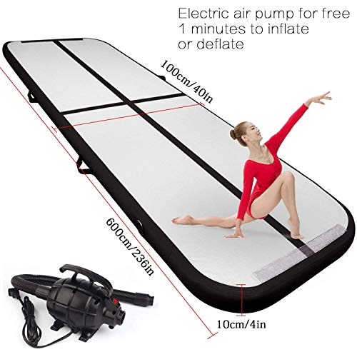 FBSPORT 19.68ft air Track Tumbling mat Inflatable Gymnastics airtrack with Electric Air Pump for Practice Gymnastics, Tumbling,Parkour, Home Floor and Martial -
