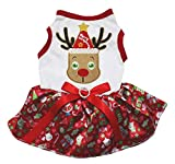 Petitebella Cute Reindeer White Shirt Red Gifts Tutu Puppy Dog Dress (XXX-Large)