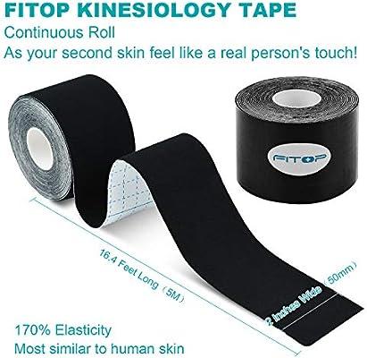 FITOP Rollo de Cinta de Kinesiología de Algodón 5 m x 5 cm (Negro): Amazon.es: Salud y cuidado personal