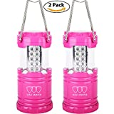 LED Camping Lantern - Gold Armour LED Lantern - Camping Lantern for Hiking, Emergencies, Hurricanes, Outages, Storms - Multi Purpose (Pink, 2 Pack)