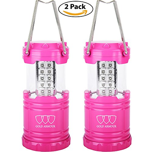 Gold Armour LED Lantern - Camping Lantern for Hiking, Emergencies, Hurricanes, Outages, Storms - Multi Purpose (Pink, 2 - Camping Warehouse