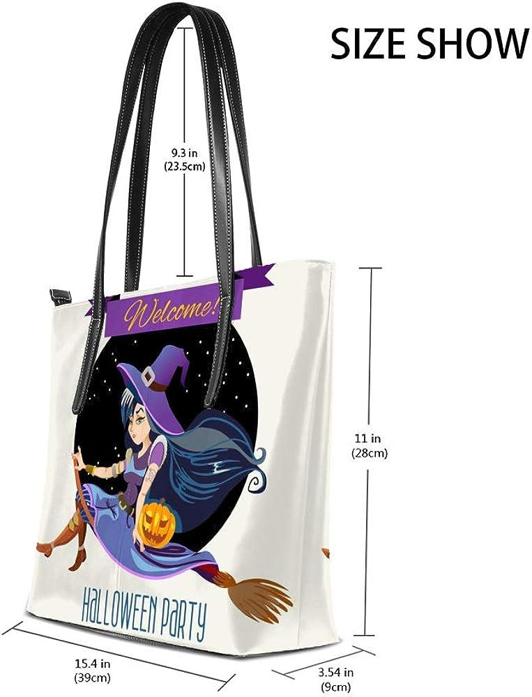 Zhongji Tote Handbag Women PU Leather Fashion Zipper Shoulder Bag Large Capacity Welecome Halloween Party