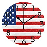 Dozili Patriotic USA Flag Printed(Blue Red) Round Wall Clock Arabic Numerals Design Non Ticking Wall Clock Large for Bedrooms,Living Room,Bathroom