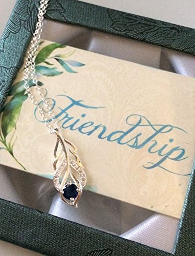 Smiling Wisdom - Blue Silver Leaf Necklace Friendship Box Gift Set - Reason Season Lifetime Friendship Greeting Card - Unique Gift for Good True Best BFF, Friend,Her, Woman