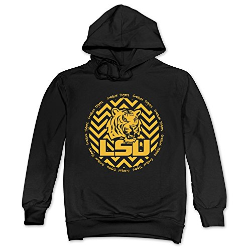 (Men LSU Geaux Tigers Icon Hoodies Black 100% Cotton)