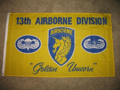 Moon Knives 3x5 US Army 13th Airborne Golden Unicorn Flag 3x