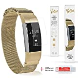Virtue Product Bands Compatible with Fitbit Charge 2 Gold Milanese Loop-Stainless Steel Metal Bracelet Replacement for Fitbit Charge 2