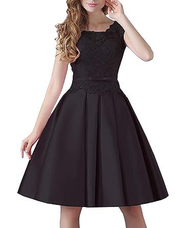 1a6a587de21 Short Cocktail Dresses for Women Evening Party 2018 Midi Homecoming Dress  Black US2