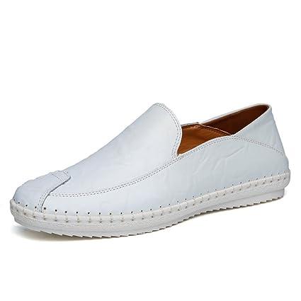 Hongjun-shoes, Mocasines Slip-on de Hombre de minimalismo de Cuero de la