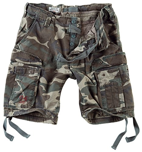 Surplus Men's Airborne Vintage Shorts Washed Woodland Size 7XL
