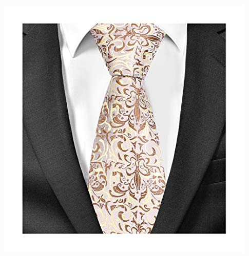 Men Champagne Cream Tan Woven Silk Tie Easy-matching Suit Boy Dress Long Necktie ()