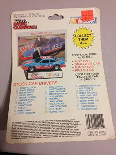 1991 Edition Racing Champions Bill Elliott #9 1:64 Scale Replica Die Cast Replica Stock Car w/Collector Card and Display Stand