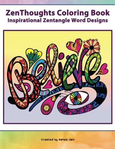 ZenThoughts Coloring Book Inspirational Zentangle Word