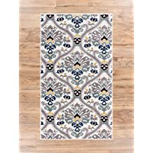 "Ogee Waves Geometric Lattice Floral Area Rug Soft Tones Grey Gold Blue Trellis Stain Resistant Scatter Rug Entryway Accent Carpet Doomrat 2x4 (2'3"" x 3'11"" )"