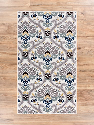 Ogee Waves Geometric Lattice Floral Area Rug Soft Tones Grey Gold Blue Trellis Stain Resistant Scatter Rug Entryway Accent Carpet Doomrat 2x4 (2'3
