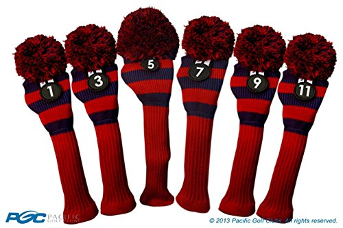 Majek Golf Club 1 3 5 7 9 11 Red and Blue Limited Edition Driver and Fairway Wood Head Covers Fits 460cc Drivers Tour Knit Retro Vintage Pom Classic Long Neck Metal Longneck Woods Headcovers