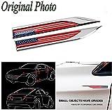 CHAMPLED USA Flag x 2 Car Auto Truck Chrome Metal Decal American Sticker 3D Emblem Badge For BMW M BENZ AUDI VW VOLKSWAGEN VOLVO JAGUAR PORSCHE