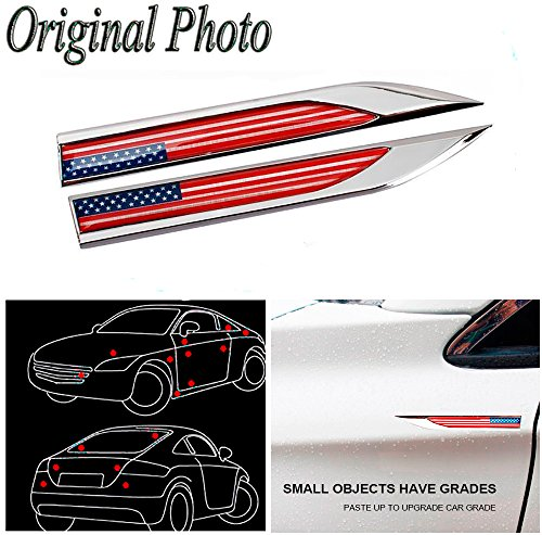 2 Car Auto Truck Chrome Metal Decal American Sticker 3D Emblem Badge For BMW M BENZ AUDI VW VOLKSWAGEN VOLVO JAGUAR PORSCHE ()