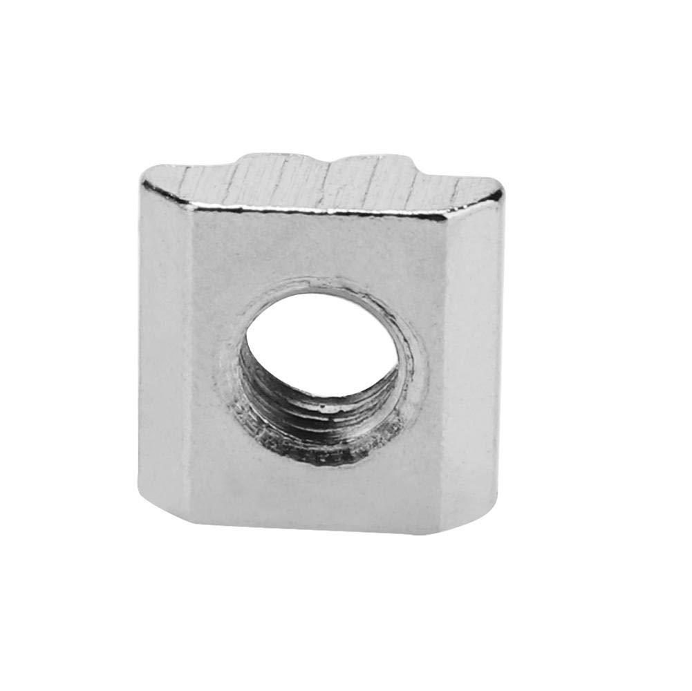 50 piezas de acero al carbono con cabeza de martillo deslizante Tuerca para ranura en T para accesorios de perfil de aluminio de 30 series M6*16 * 6