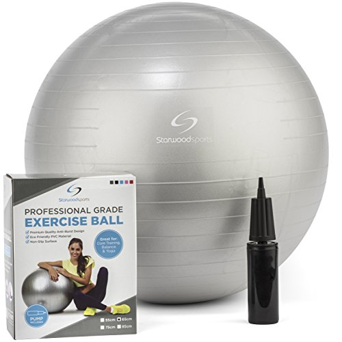 Exercise Ball – Yoga Swiss Ball with Hand Pump – Gym Quality Fitness Ball for Women and Men – Lifetime Guarantee