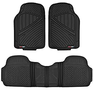 Motor Trend MT-773-BK_AMSEP FlexTough Baseline - Heavy Duty Rubber Floor Mats for Car SUV Truck Van, 100% Odorless & All weather Protection (Black)