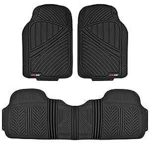 Motor Trend FlexTough Baseline - Heavy Duty Rubber Car Floor Mats, 100% Odorless & BPA Free, All Weather (Black)