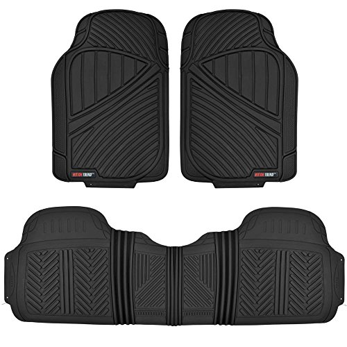 Motor Trend FlexTough Baseline - Heavy Duty Rubber Floor Mats for Car SUV Truck Van, 100% Odorless & All weather Protection (Black)