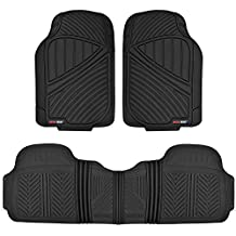 Motor Trend MT-773-BK FlexTough Baseline-Heavy Duty Rubber Floor Mats for Car SUV Truck Van, 100% Odorless & All Weather Protection (Black)